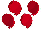 Set of red 3d speech banners icon. Vector illustration