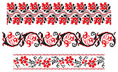 set of red and black ethnic patterns for embroidery stitch. Traditional ukrainian borders in seamless pattern