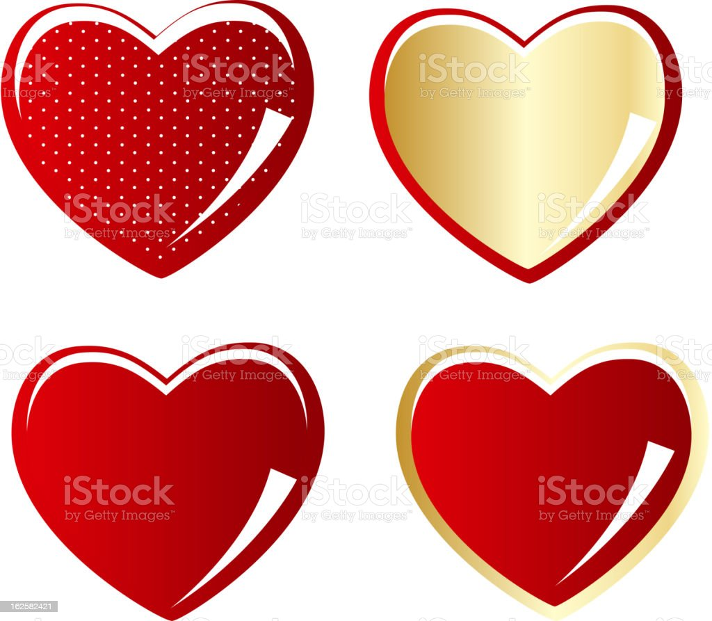 Set of red and gold heart vector illustration royalty-free stock vector art