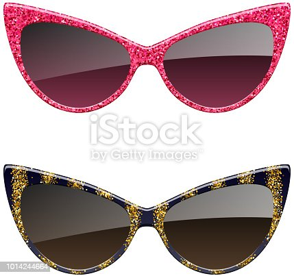 Set of red and golden glitter sunglasses.