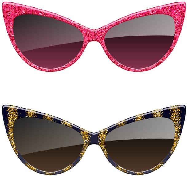 ilustrações, clipart, desenhos animados e ícones de conjunto de óculos de sol glitter vermelho e dourado. - óculos escuros acessório ocular