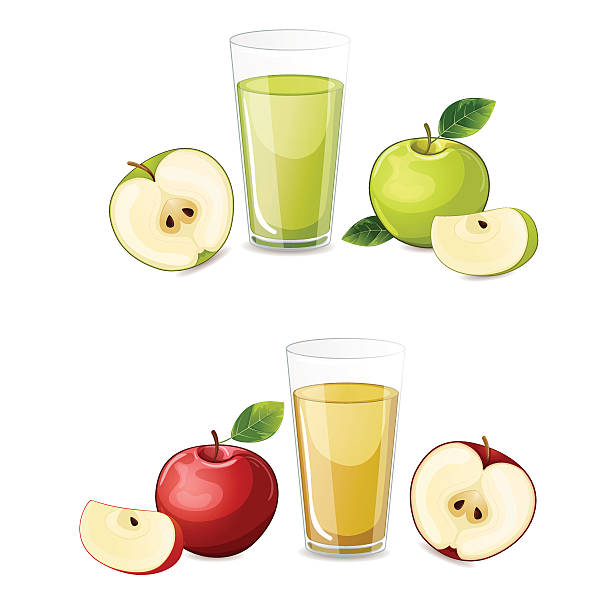 Set of red and green apple fruits juice. vector art illustration