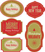 Vector illustration of a set of Holiday themed labels or tags with various text designs including Merry Christmas, Happy Holidays and Happy New Year. Can be used as gift tags, or wine/beer labels. Red and green colored design with repeating pattern theme throughout. Download includes Illustrator 10 eps with transparencies, high resolution jpg and png file.