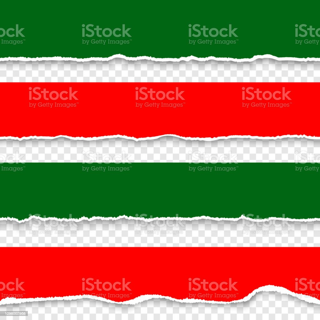 Set Of Red And Green Torn Paper Realistic Paper Stripes With Ripped