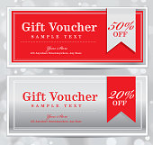 Vector illustration of a set of two vintage or red and silver gift certificates with copy space areas alloted to personalize. Red and gold and retro Gift Certificates and wine labels please see my portfolio. Forms, horizontal, gift card, gift certificate. Printable. Assorted text sample designs include 'Gift Card', 'A gift for you', 'Vintage'. Also includes ribbon and bow label.