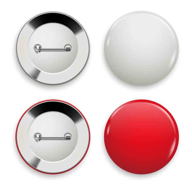illustrations, cliparts, dessins animés et icônes de ensemble de badges rouges et blancs, vue de face et arrière - épingle