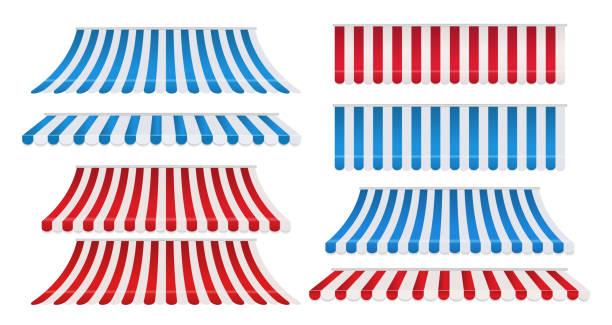 set aus roten und weißen, blauen und weißen streifen bunte markisen für den laden. zeltsonnenschutz für den markt isoliert auf weißem hintergrund. - dachzelt stock-grafiken, -clipart, -cartoons und -symbole