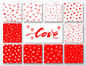 Set of red and white patterns with hearts for Valentines Day, vector illustration