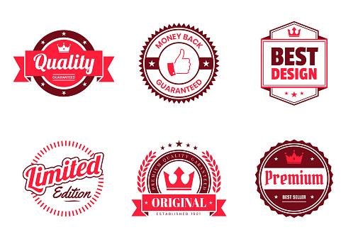 Set of Red Badges and Labels - Design Elements