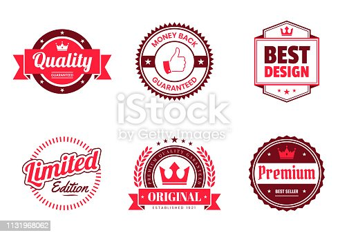 Set of 6 red badges and labels, isolated on white background (Quality - Guaranteed, Money Back Guaranteed, Best Design, Limited Edition, Original - Premium Quality Guaranteed, Premium - Best Seller). Elements for your design, with space for your text. Vector Illustration (EPS10, well layered and grouped). Easy to edit, manipulate, resize or colorize. Please do not hesitate to contact me if you have any questions, or need to customise the illustration. http://www.istockphoto.com/portfolio/bgblue