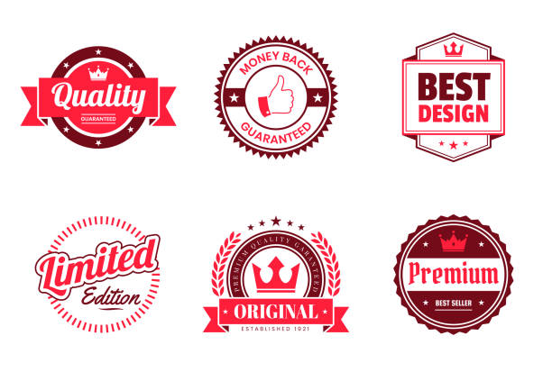 set of red badges and labels - design elements - przypinka stock illustrations