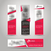 Set of fore red banners. Elements for web or print design. Vector 3d illustration. Place for photo included.