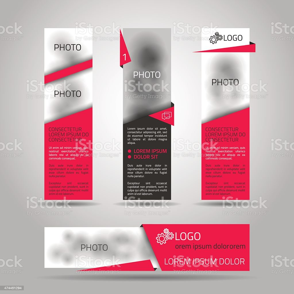 Set of red banners. vector art illustration