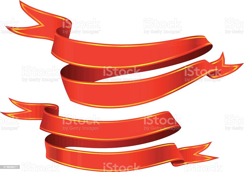 Set of red banners vector art illustration