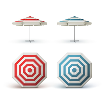 Set of Red Blue Striped Patio Outdoor Cafe Parasol