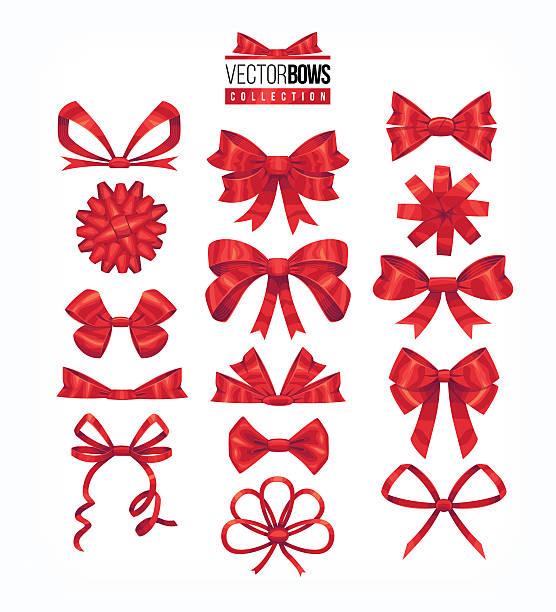 Set of red bows. Vector illustration. - ilustración de arte vectorial