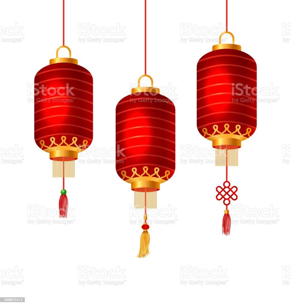Ilustracion De Juego De Faroles Chinos Rojos Para Feliz Ano Nuevo