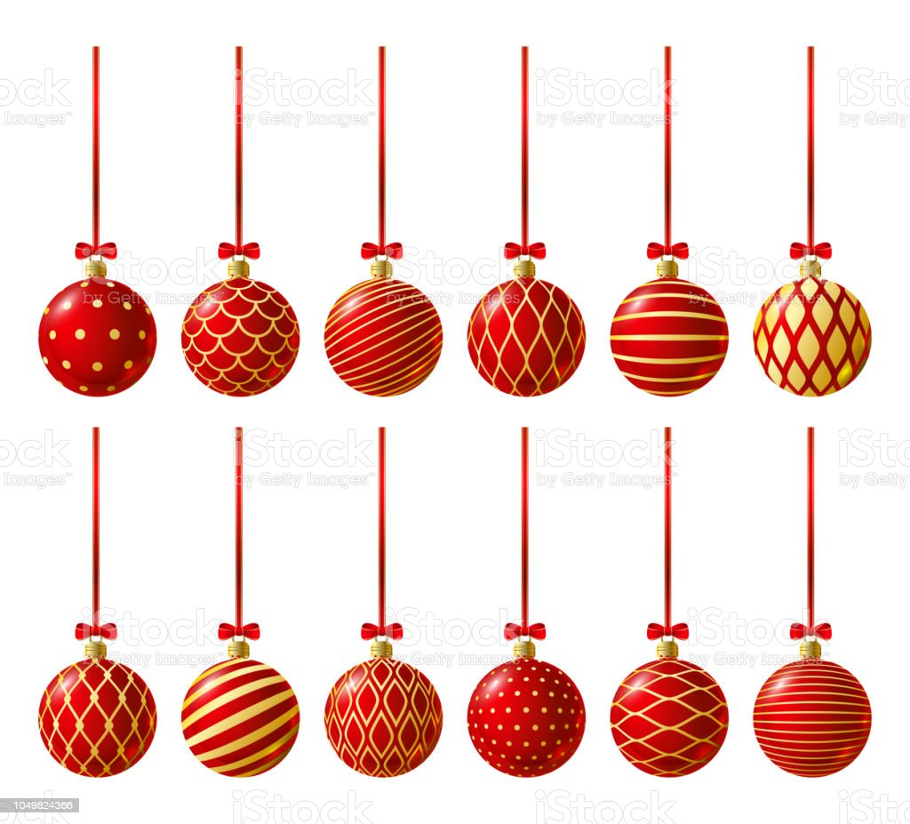 set of red christmas balls with golden ornament royalty free set of red christmas balls