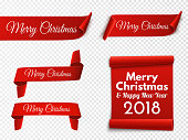 Set of red Christmas banners. Paper scrolls. Vector illustration.