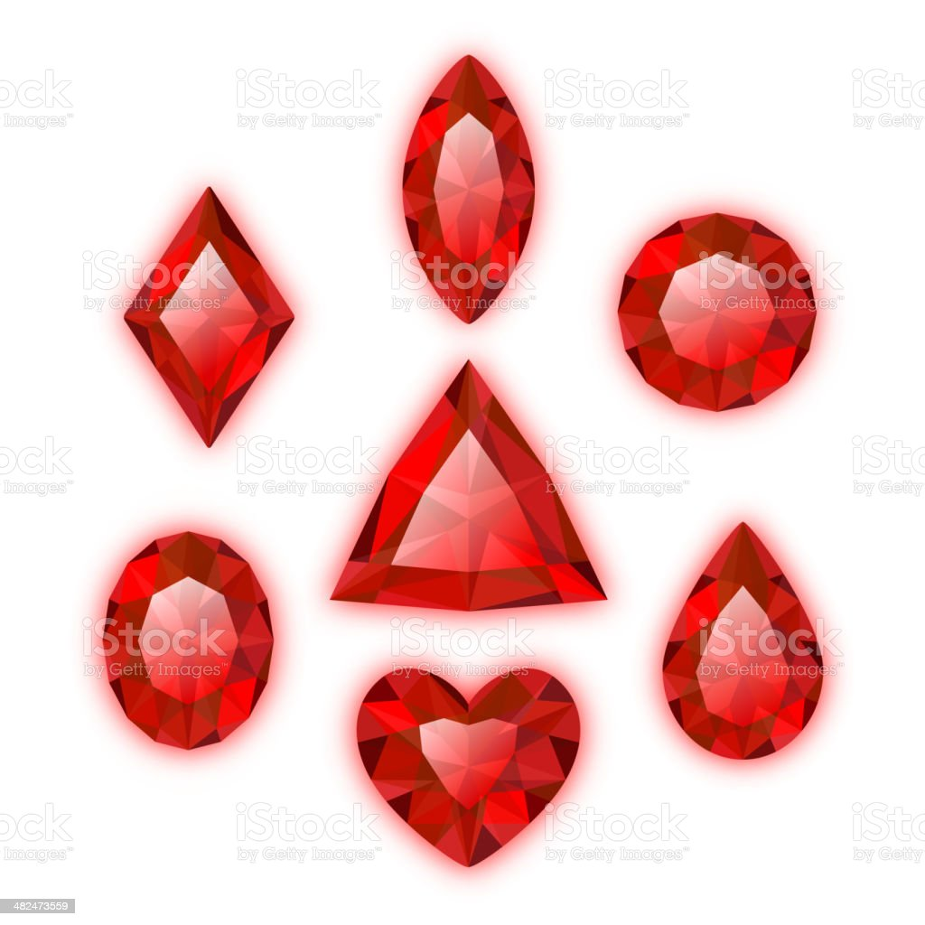 Set of red colored gems