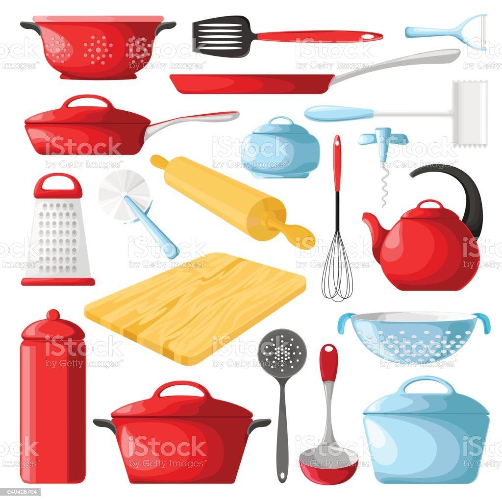 Ilustración de Conjunto De Utensilios De Cocina Rojo Aislado Sobre ...