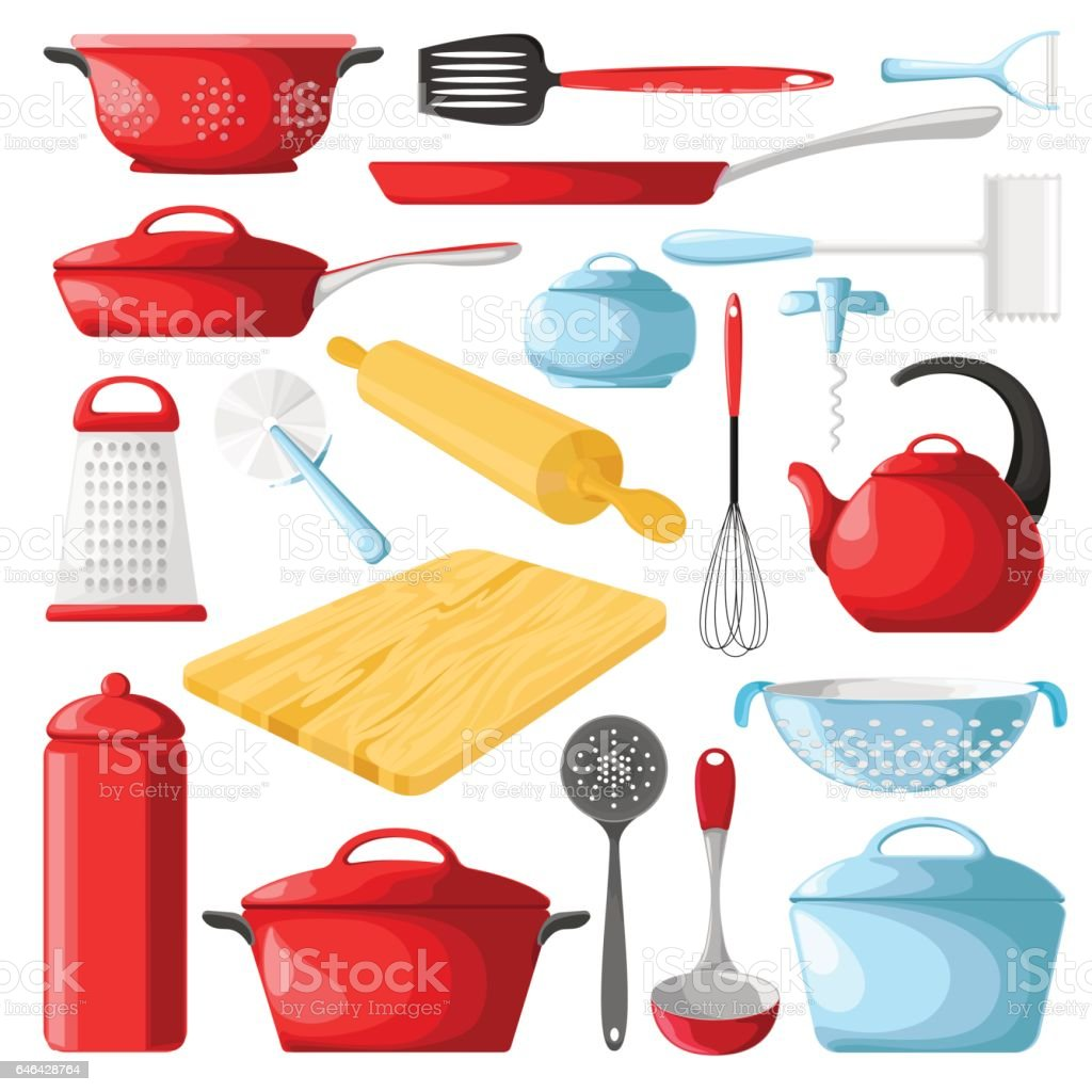 Set of red cookware isolated on white background. Vector illustration. Set of blue cookware isolated on white background. Kitchen utensils. vector art illustration