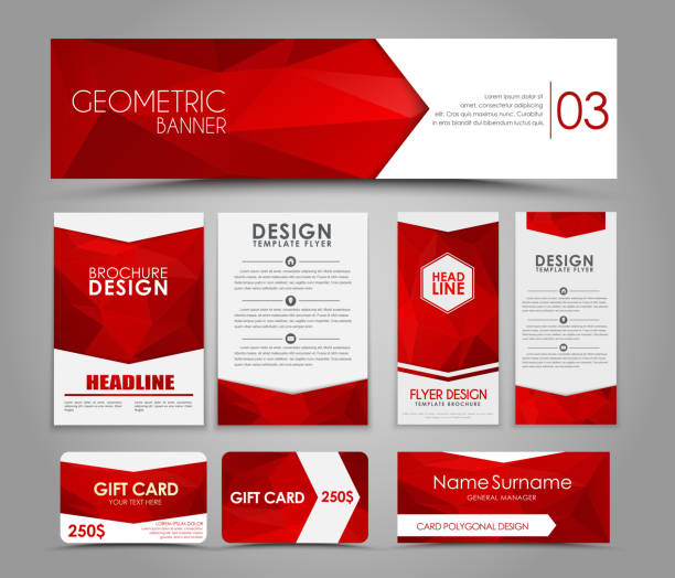 Set of red corporate style polygonal Design of flyers, banners, brochures and cards with red polygonal elements. Corporate Identity, Advertising printing. Vector illustration. Set caucasian ethnicity stock illustrations