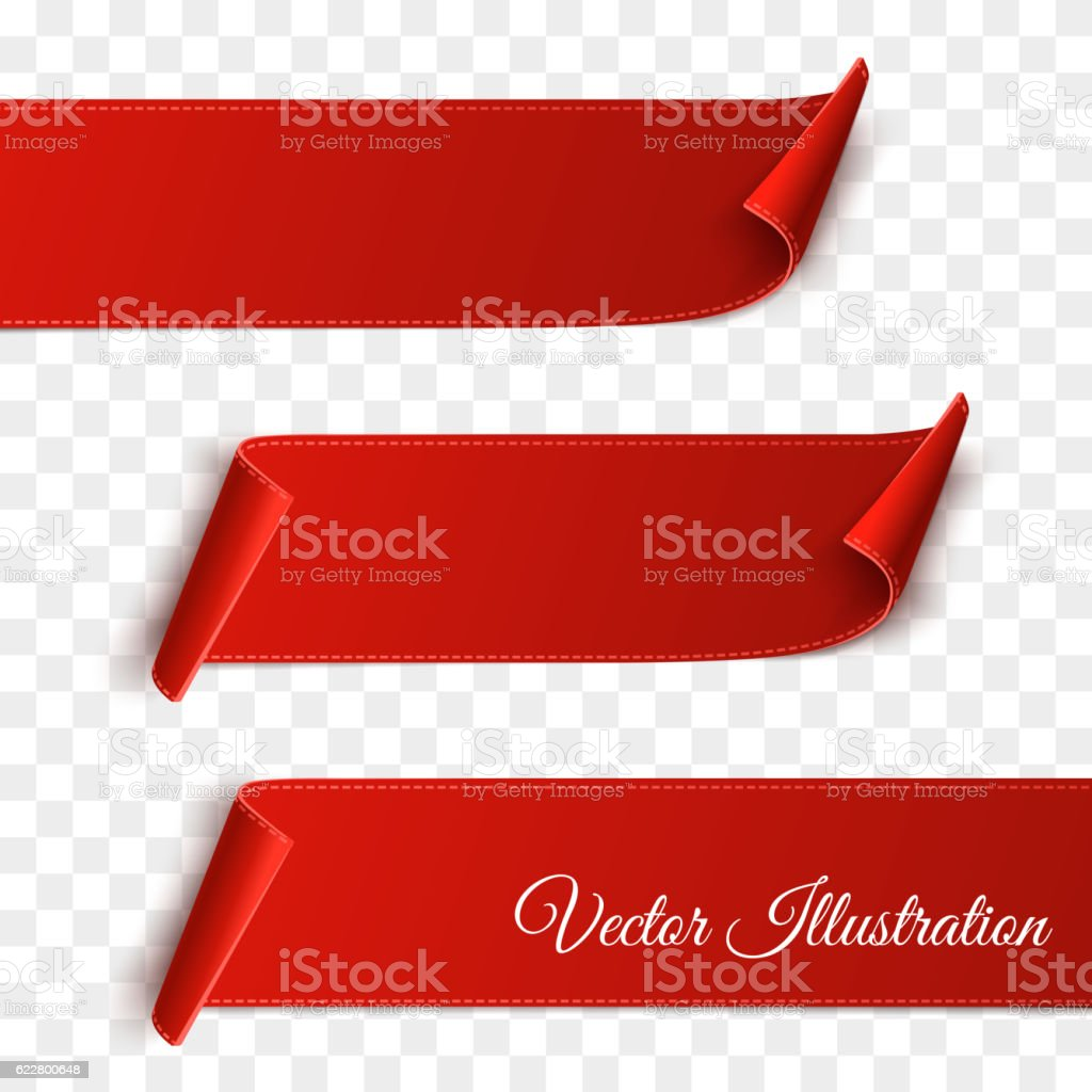 Set of red curved paper blank banners isolated on transparent
