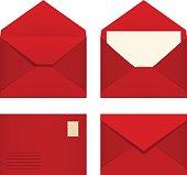 Set of red envelopes. Vector illustration.