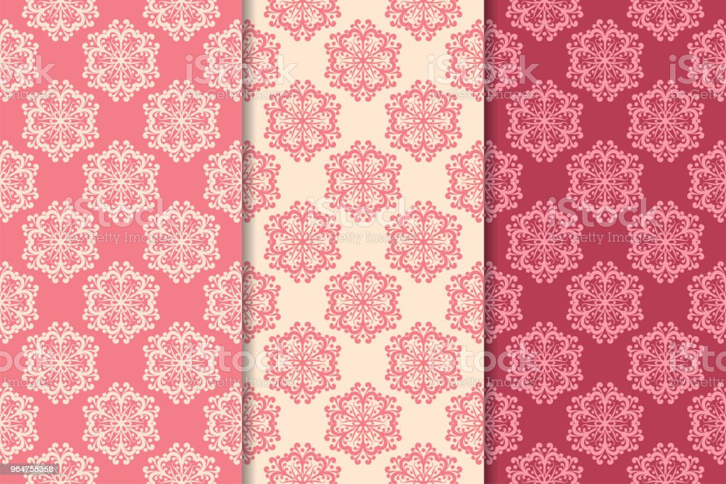 Set of red floral ornaments. Cherry pink vertical seamless patterns royalty-free set of red floral ornaments cherry pink vertical seamless patterns stock illustration - download image now