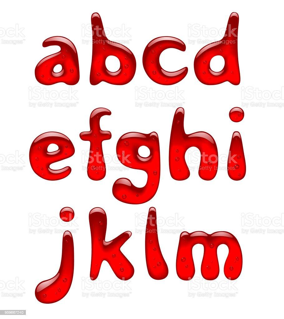 Set de gel rojo y minúsculas del alfabeto caramelo aislado en blanco - arte vectorial de Aislado libre de derechos