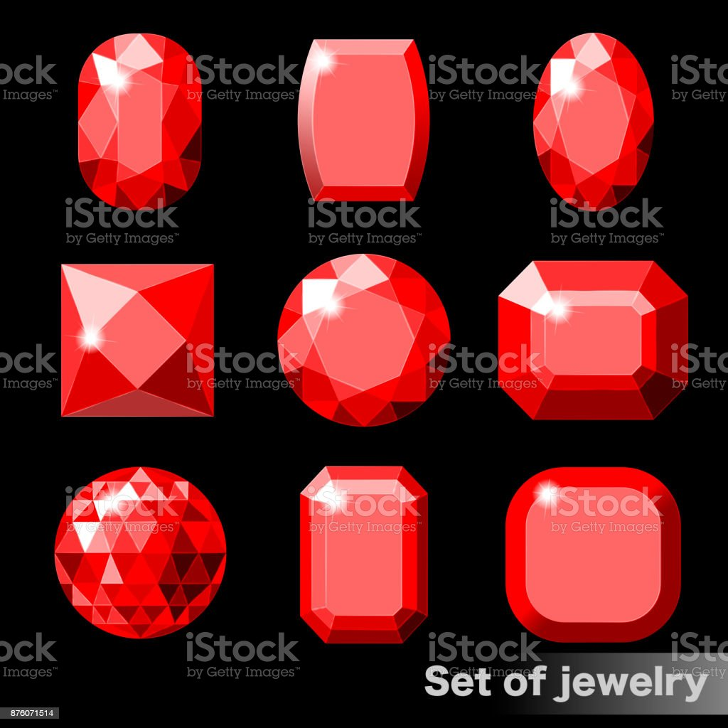 Set of red gems ruby of various shapes