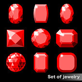 Set of realistic red gems ruby of various shapes. Vector illustration
