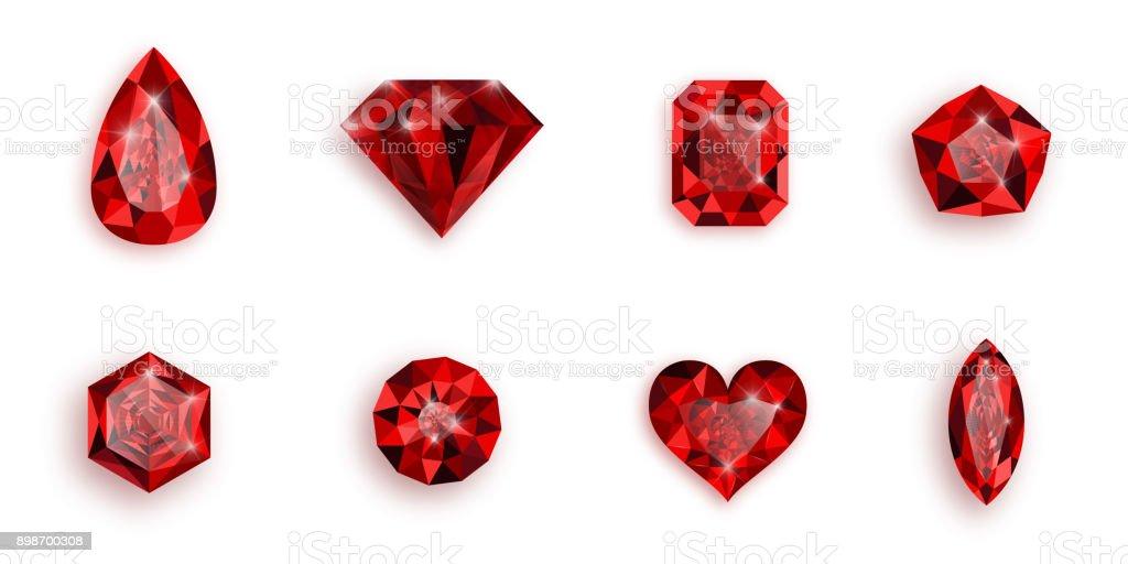 Set of red gemstones.