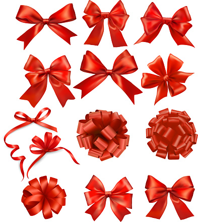 Set Of Red Gift Bows With Ribbons Stock Illustration - Download Image Now