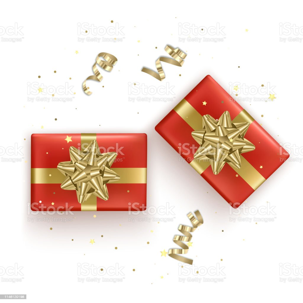 Set Of Red Gift Boxes With Realistic Golden Ribbon Top View Birthday