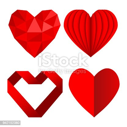 Set Of Red Heart Symbols Love From Crumpled Paper And Ribbon Stock