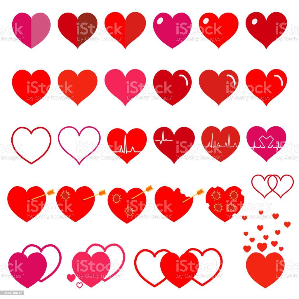 Set of red hearts. Flat design vector art illustration
