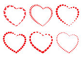 Set of red hearts. Vector illustration