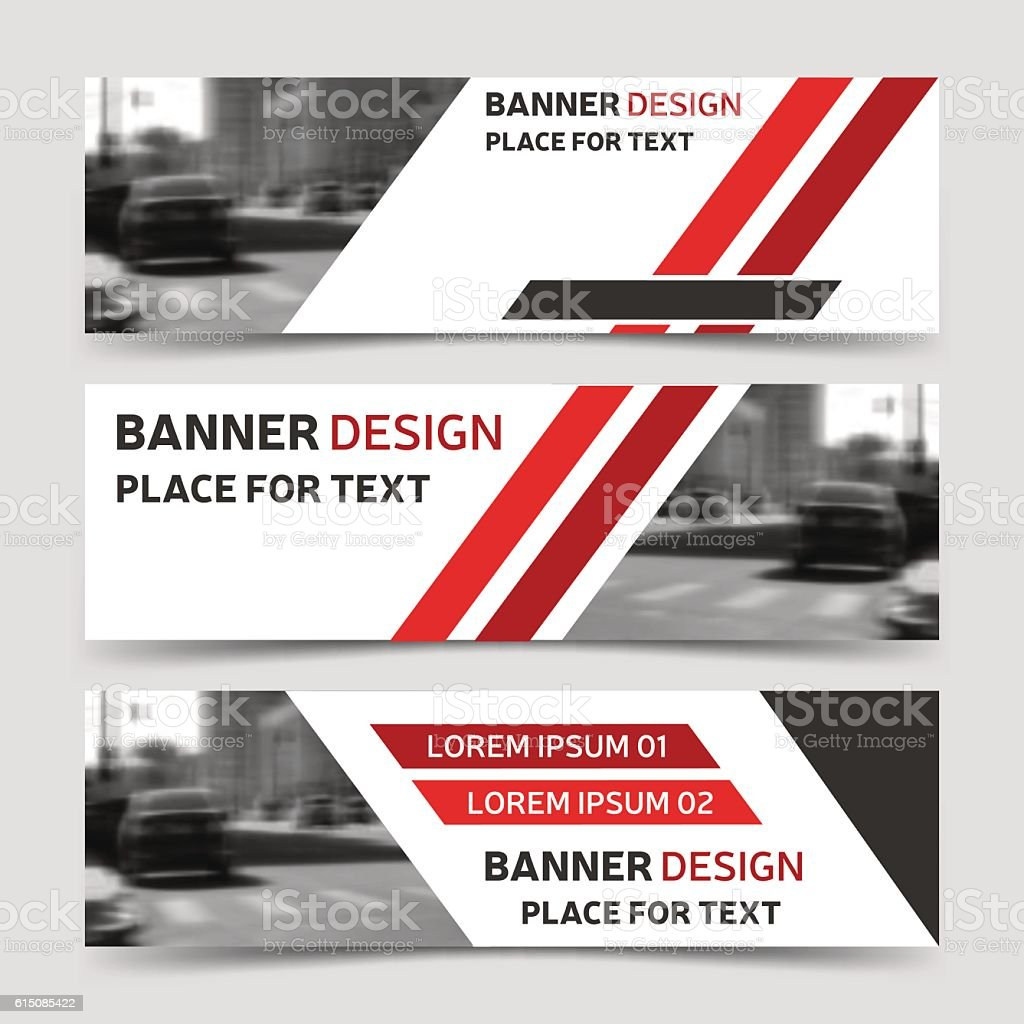 Set of red horizontal business banner templates modern design stock set of red horizontal business banner templates modern design royalty free set of red flashek Images