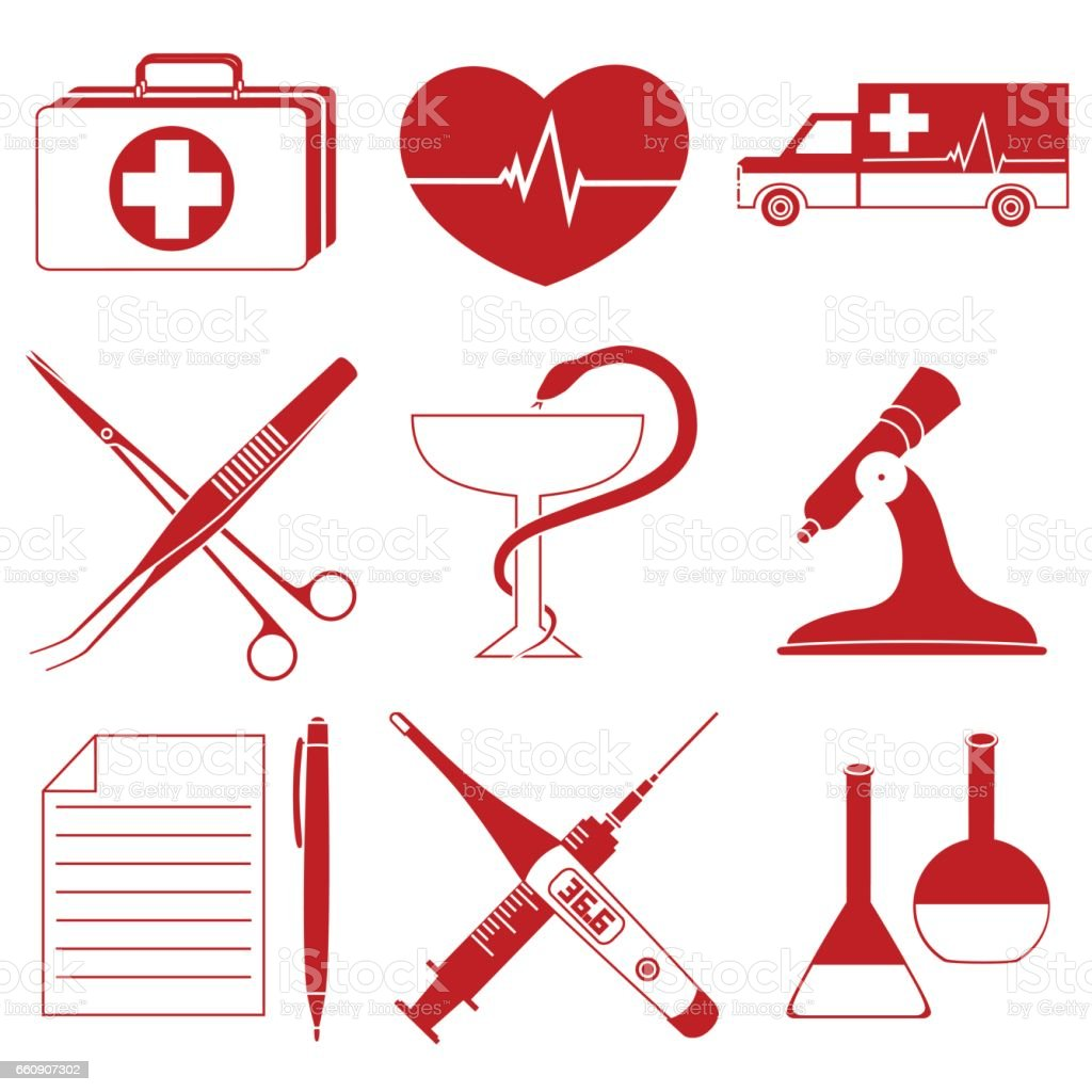 Set Of Red Icons Medical Symbol Isolated On A White Background Stock