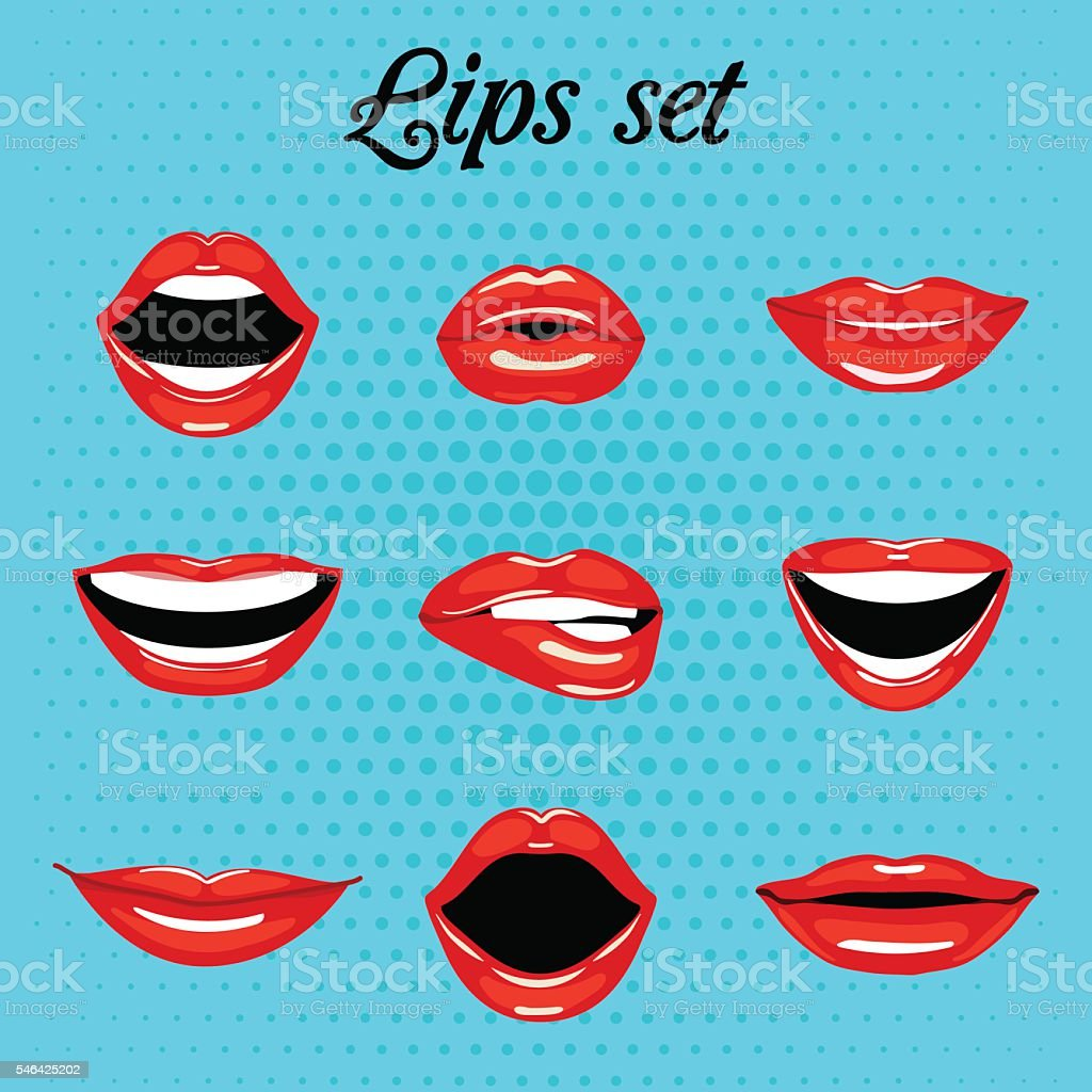 Set of red kissing and smiling cartoon mouth vector art illustration