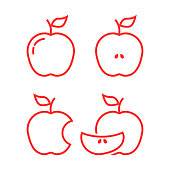 set of red linear apples. concept of snack, yummy, natural, nutritious, lunch, summer or autumn harvesting. flat lineart style trend modern design vector illustration on white background