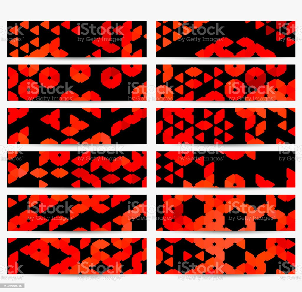 Set of red mosaic banners templates vector art illustration