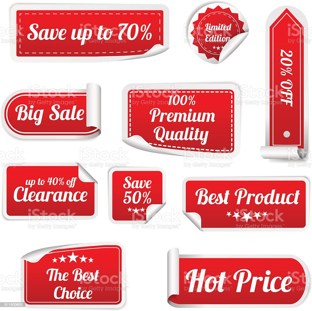 Set Of red paper SALE stickers. Vector Round rectangular stickers vector art illustration