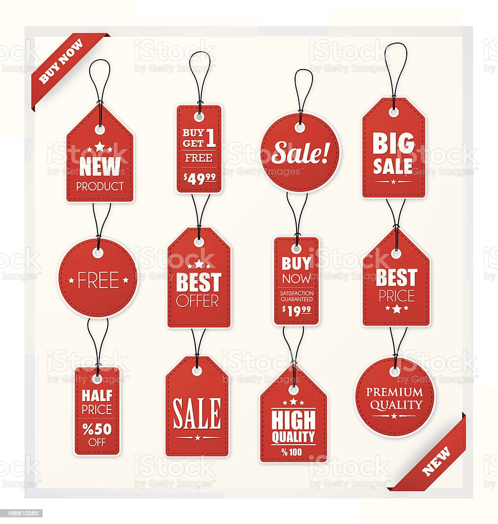 Set of red promotion and sale tags royalty-free set of red promotion and sale tags stock vector art & more images of angle