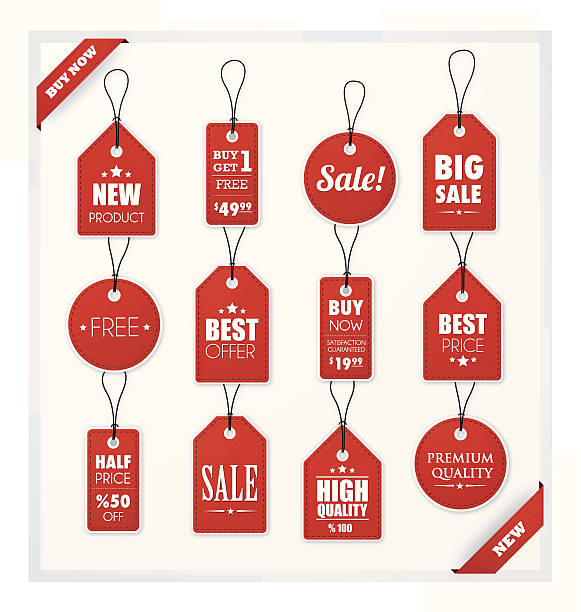 Set of red promotion and sale tags vector art illustration