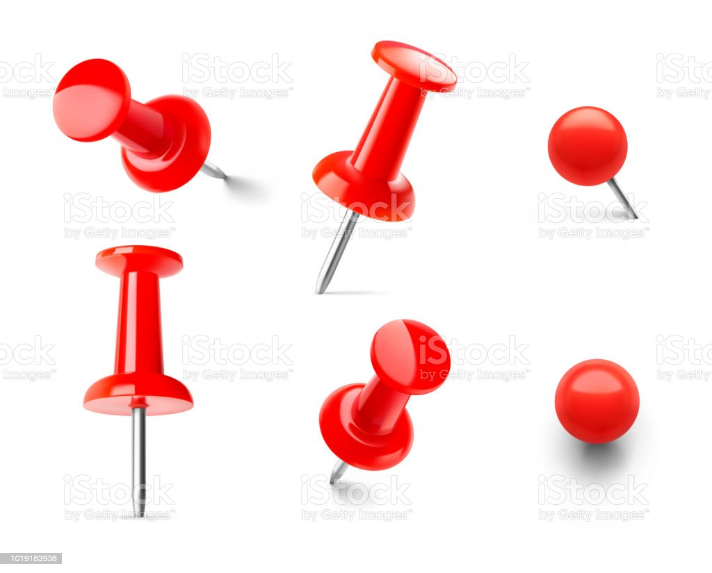 set of red push pins in different angles isolated on white