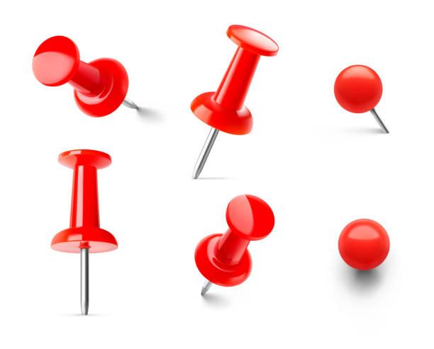 satz von roten push-pins in verschiedenen winkeln isoliert auf weißem hintergrund. - heftzwecke stock-grafiken, -clipart, -cartoons und -symbole