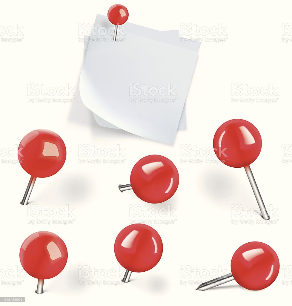 Set of red pushpins and blanks white paper with pushpins vector art illustration